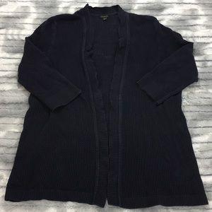 Talbots open-front open-knit cardigan - navy